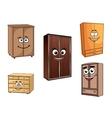Smiling cartoon cupboards set vector image