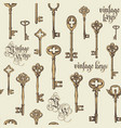 abstract seamless background with vintage keys vector image