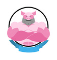 Angry pig Round emblem Big boar bodybuilder logo vector image vector image