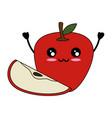 apple delicious fruit cute kawaii cartoon vector image vector image