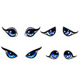 big blu girl character eyes emotion on face vector image vector image