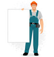 builder with a banner vector image