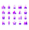 candle flame simple gradient icons set vector image vector image