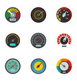 car gauge icon set flat style vector image vector image