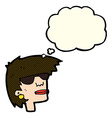 Cartoon female face with glasses with thought