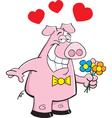 Cartoon Pig Holding Flowers vector image vector image