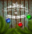christmas balls and christmas tree on a wooden vector image vector image