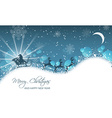 Christmas landscape santa on sleigh with reindeer vector image