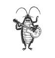 cockroach guitar sketch vector image vector image