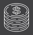coins of dollar line icon business and finance vector image vector image
