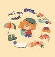 Cute cartoon girl with autumn elements autumn