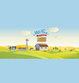 decorative farm in cartoon style with a cow and vector image vector image