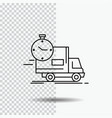 delivery time shipping transport truck line icon vector image vector image
