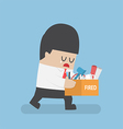 Dismissed businessman holding box with personal vector image vector image