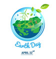 ecology world with april 22 earth day text vector image vector image