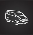 family car thin line on black background vector image
