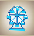 ferris wheel sign sky blue icon with vector image vector image