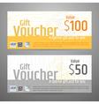 Gift Voucher Yellow Gray wood texture vector image