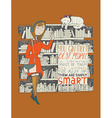 Girl and cat meeting in a library hand drawn made vector image