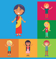 happy kids on colorful backgrounds poster vector image vector image