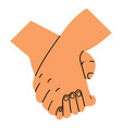 holding hands promise on white background vector image vector image