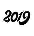 isolated black fluffy numbers for 2019 year vector image vector image