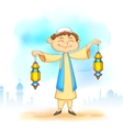 Kid with Eid lantern vector image