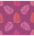 living coral and purple tropical palm leaves vector image