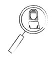 magnifier with business woman pictogram icon vector image