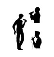 man singing silhouette set vector image vector image