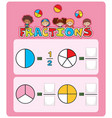 math fractions worksheet template vector image vector image