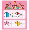 math fractions worksheet template vector image