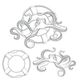 Octopus in a life buoy vector image vector image