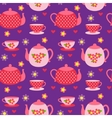 pattern teapots and cups vector image