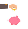 piggy bank and hand with coin color vector image vector image