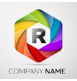 R Letter colorful logo in the hexagonal on grey vector image vector image