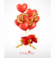 realistic red balloons heart and letter love vector image