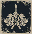rock and roll banner with guitar wings and skull vector image
