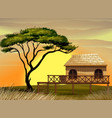 scene with wooden hut in the field vector image vector image