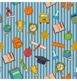 School pattern on striped blue background vector image vector image