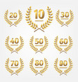 set anniversary golden icon white background vector image