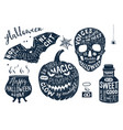 set of halloween posters with lettering vector image