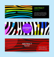 set of horizontal color banners with stripes vector image