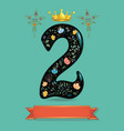 sparkling floral number two with golden crown vector image