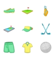Sport golf icons set cartoon style vector image vector image