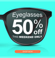 sunglasses for half price concept big sale 50 off vector image vector image