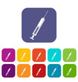 syringe with liquid icons set flat vector image vector image
