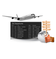 Travel background with mechanical departures board vector image