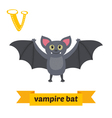 Vampire bat V letter Cute children animal alphabet vector image vector image