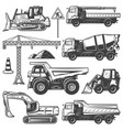 vintage construction machines set vector image vector image